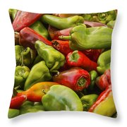 Red And Green Peppers Throw Pillow