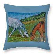 Red And His Mare Throw Pillow