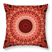 Red And Orange Mandala Throw Pillow