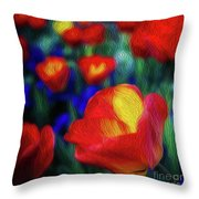 Red And Orange Tulips Throw Pillow