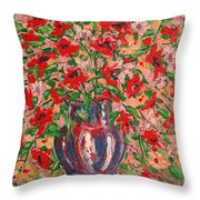 Red And Pink Poppies. Throw Pillow