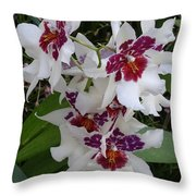 Red And Purple Orchids Throw Pillow