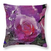 Red And Violet Roses Throw Pillow