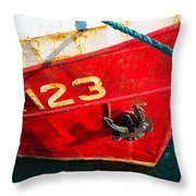 Red And White Boat Detail Throw Pillow