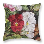 Red And White Pansies Throw Pillow