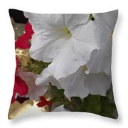Red And White Petunias Throw Pillow