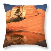 Red And White Reflections In Blue Throw Pillow