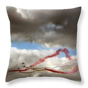 Red And White Ribbon Throw Pillow