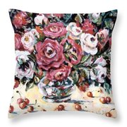 Red And White Roses II Throw Pillow