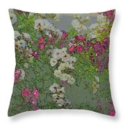 Red And White Roses  Medium Toned Abstract Throw Pillow