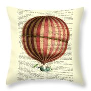 Red And White Striped Hot Air Balloon Antique Photo Throw Pillow