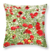 Red And White Wild Flowers Spring Scene Throw Pillow