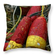 Red And Yellow Buoys Throw Pillow by Carol Leigh