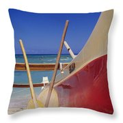 Red And Yellow Canoe Throw Pillow by Joss - Printscapes