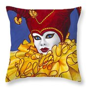 Red And Yellow Carnival Jester Throw Pillow