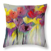 Red And Yellow Floral Field Painting Throw Pillow