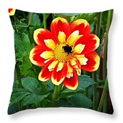 Red And Yellow Flower With Bee Throw Pillow