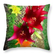 Red And Yellow Garden Flowers Throw Pillow