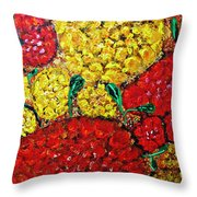 Red And Yellow Garden Throw Pillow