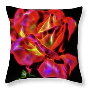 Red And Yellow Rose Fractal Throw Pillow