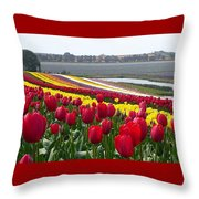 Red And Yellow Tulip Fields Throw Pillow