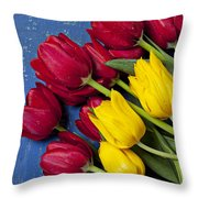 Red And Yellow Tulips Throw Pillow by Garry Gay