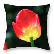 Red And Yellow Tulip - Photopainting Throw Pillow