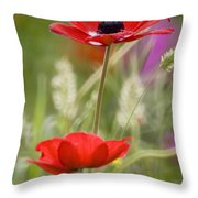 Red Anemone Coronaria In Nature Throw Pillow
