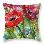 Red Anemone Flowers Throw Pillow