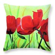 Red Anemonies Throw Pillow