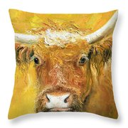 Red Angus Cow Throw Pillow