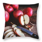 Red Apple Slices Throw Pillow