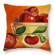 Red Apples In Vintage Watt Yellowware Bowl Throw Pillow