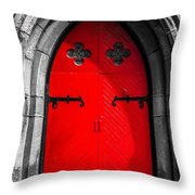 Red Arched Door Throw Pillow