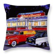 Red Arrow Diner Throw Pillow