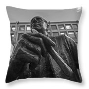 Red Auerbach Chilling At Fanueil Hall Black And White Throw Pillow
