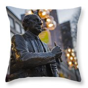 Red Auerbach Chilling At Fanueil Hall Side Throw Pillow
