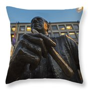 Red Auerbach Chilling At Fanueil Hall Throw Pillow
