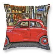 Red Morris Minor Throw Pillow