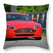 Red Auston Martin Leaving Pit Lane Throw Pillow