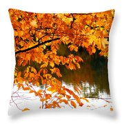 Red Autumn Leaves 2 Throw Pillow