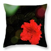 Red Azalea Throw Pillow