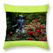Red Azalea Lady Throw Pillow