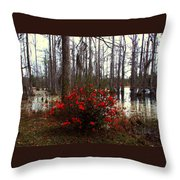 Red Azaleas In The Swamp Throw Pillow