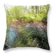 Red Azolla Throw Pillow
