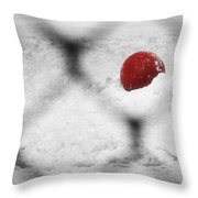 Red Ball In The Snow Throw Pillow