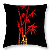Red Bamboo Throw Pillow