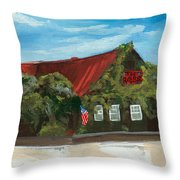 Red Bar - Blue Sky Throw Pillow