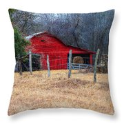Red Barn A Long The Way Throw Pillow