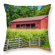 Red Barn Along The Fence Throw Pillow